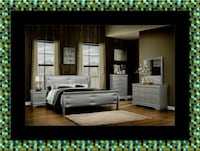 11pc grey Marley bedroom set with mattress Bowie