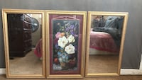 Rectangular mirror with brown wooden frame from home interior come all together 1 flower in the middle and two mirrors on each side  Tulare, 93274