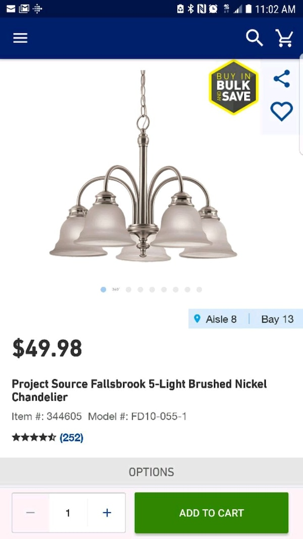 5 light chandelier for $35