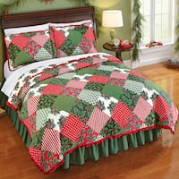 Twin Reversible Holly Evergreen Patchwork Quilt Stanley