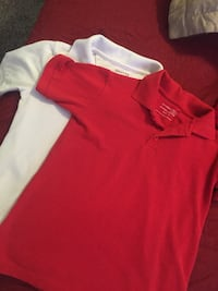 two white and red polo shirts size 6