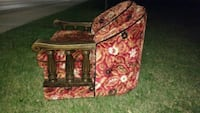 red and white floral fabric sofa chair Hamilton