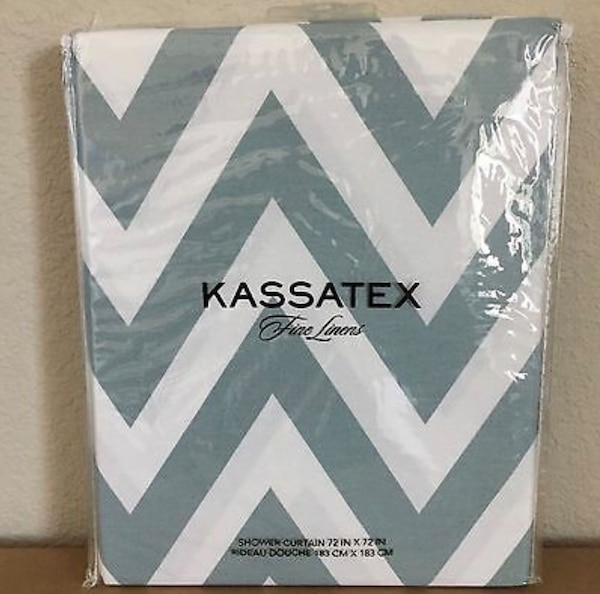 "New! Kassatex Spa Blue Chevron Fabric Shower Curtain. Paid $42.00. Size 72"" x 72. Purchased it from Macy's. Was going to use it for staging a property. I no longer need it. I don't have the original packaging. It's in excellent condition! 551feb1b-0ea2-4fd7-9252-7d992c9f293b"