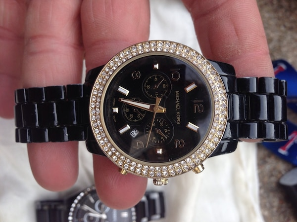 bef445c7c7f7 Used round black Michael Kors chronograph watch for sale in Fort Worth -  letgo