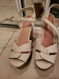 pair of white leather open-toe sandals Toronto, M9C 0A5