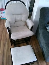 brown wooden framed gray padded glider chair Toms River