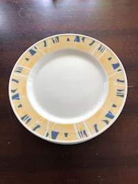 """Set of 12 large plates. 12"""" wide .Yellow and blue. Edmonton, T5B 2E8"""