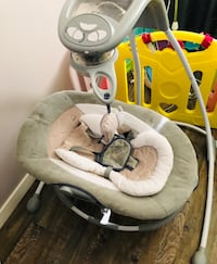 baby's white and gray cradle and swing Edmonton, T5T 3H6