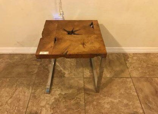 Used Teak Wood End Table Patio Outdoor Coffee Table Side