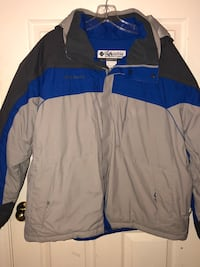 Columbia Storm Dry gray black blue coat with hood mens XL Independence, 97351