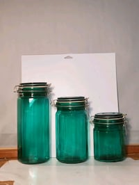 Vintage Aqua Turquoise Glass Kitchen Canister Set  Waldorf, 20602