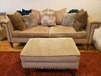 Comfortable Textured Couch with Intricate Nail Design and Pillows  Calumet City, 60409
