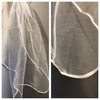 Single tier ribbon trimmed veil Midland, L4R
