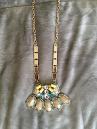 Beautiful geometric statement necklace - gold, taupe, turquoise, yellow, with length extender Jersey City, 07302