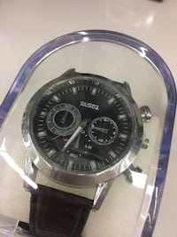 round silver chronograph watch with black leather strap Kitchener, N2M