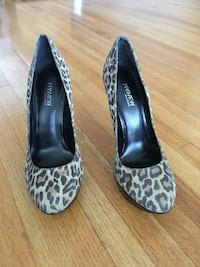 pair of black-and-grey leopard pattern Preview suede heeled shoes Burnaby