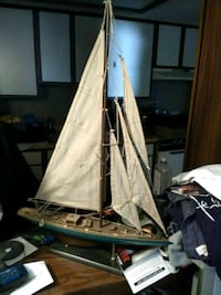 white and blue galleon ship scale model 785 mi