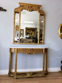 Wooden framed gold leaf console table and mirror  Aurora, L4G 7Y4