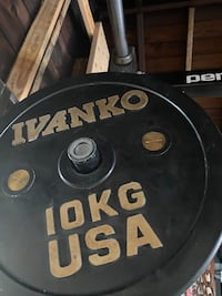 Pairs of 25,20,15,10 kg Ivanko calibrated bumper plates