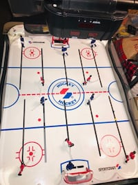 """SPORTCRAFT ROD HOCKEY TABLE with Electronic Scoreboard   Sound and scoreboard. Everything works except the one goal score sensor needs to be adjusted below..Simple LED..I will explain. 35"""" wide x 45"""" long, x 36"""" high  Smoke free home.  VIEW MY OTHER ADS!! Toronto"""