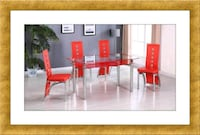 Glass table red with 4 chairs Hyattsville