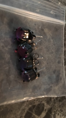 black and purple stone stud earrings
