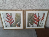 NICE PROFESSIONALLY FRAMED PAIR OF FLORAL PRINT Saint Simons Island