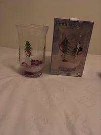 clear glass Luminaire hand painted glass hurricane with box