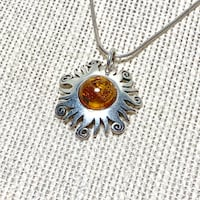Authentic Sterling Silver Baltic Amber Sun Pendant With Sterling Rope Chain Ashburn