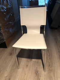 White faux leather chair