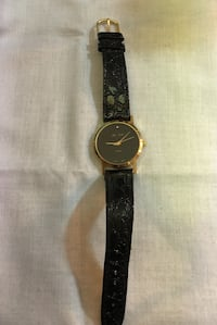 round gold-colored analog watch with black leather band Gaithersburg, 20877