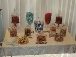 clear candy canister lot 13 pieces
