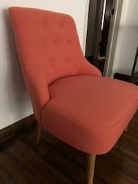 red fabric padded brown wooden chair 2277 mi