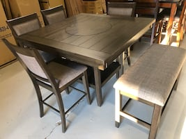 Solid wood counter height dining group seats 6... 48x 48