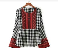 girl's white,black and red gingham long sleeve top