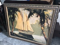 Gray framed white sailing boat near coconut trees painting Orlando, 32839