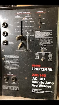 black Craftsman Sears 230/140 infinite amp arc welder with longer cables