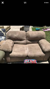 gray suede english rolled-arm loveseat Pine Hills, 32808