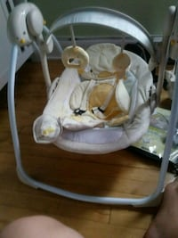 baby's white and gray swing chair
