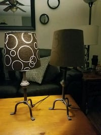 Brown metal base table lamp with white lampshade