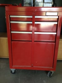 "Standing tool box on wheels with lock bar (22"" x 31 1/2"")"