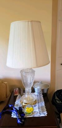 Pair of vintage etched glass lamps Nottingham, 21236