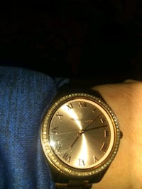 round gold analog watch with black leather strap Savannah, 31404