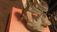 Sparkly gold open-toe heeled sandals