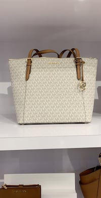 White and brown leather tote bag Calgary, T3H
