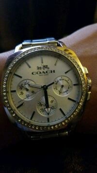 round gold Michael Kors chronograph watch with link bracelet Las Cruces