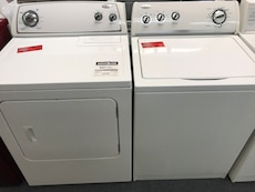 white front load dryer and washer set