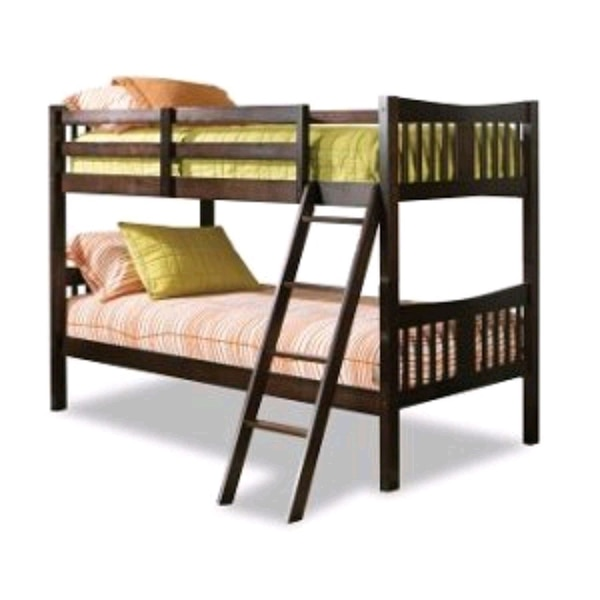 Twin bunk bed with ladder.