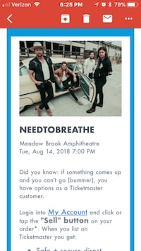 NEED TO BREATHE CONCERT Livonia, 48154