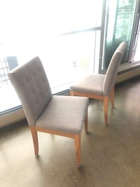 REVOLVE SET OF TWO GREY/WOOD DINING CHAIRS
